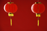 Still life of a pair of red lanterns - Asia Images Group