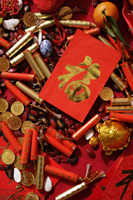 Red packet with Chinese character on various Chinese New Year goodies - Asia Images Group