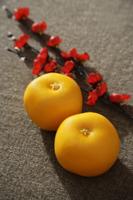 Still life of pair of mandarin oranges - Asia Images Group
