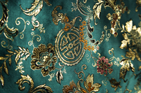 Detail of jade green Chinese silk fabric - Asia Images Group