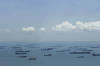 Ships in Singapore port in the morning - Asia Images Group