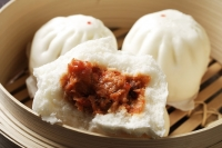 close up of steam bun, (bao) - Asia Images Group