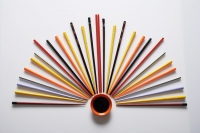 colorful chopsticks displayed like a fan - Asia Images Group