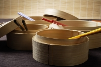 bamboo steamers with chop sticks - Asia Images Group