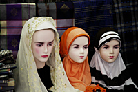 Mannequin's wearing Muslem head scarfs - Asia Images Group