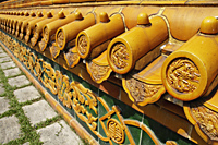 Chinese tile wall with dragon detail. - Asia Images Group