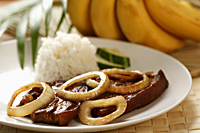 Pork steak with rice (Bistik Tagalog). Traditional Filipino dish - Asia Images Group
