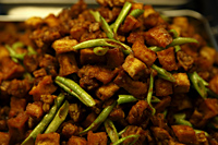 Tempeh and tofu with string beans. Malay food - Asia Images Group