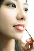 Woman putting on lipstick with lip brush - Asia Images Group