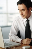 Businessman looking at laptop - Asia Images Group
