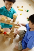 Children playing with building blocks, high angle view - Asia Images Group