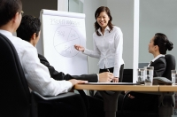 Executives having a business meeting, woman standing next to flipchart - Asia Images Group