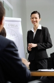 Businesswoman standing next to flipchart, smiling at colleagues - Asia Images Group