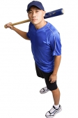 Young man holding baseball bat, looking up at camera - Asia Images Group