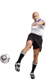 Young man in soccer uniform, kicking ball - Asia Images Group