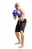 Young man wearing boxing gloves, facing camera - Asia Images Group