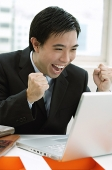 Businessman looking at laptop, hands in fists, smiling - Asia Images Group