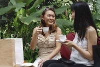 Two women at outdoor garden cafe, with cups and saucers - Asia Images Group