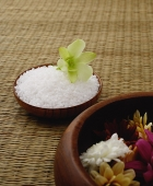 Still life of flower on bowl of rice - Asia Images Group