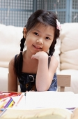 Young girl looking at camera, hand on chin - Asia Images Group