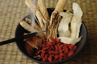 Bowl filled with Chinese medicinal herbs - Asia Images Group