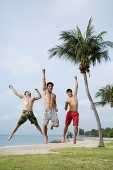 Men jumping in air, arms outstretched - Asia Images Group