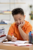 Boy doing homework, hand on chin - Asia Images Group