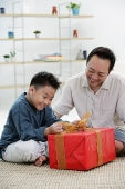 Boy opening gift box, father next to him - Asia Images Group