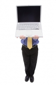 Businessman holding laptop over his face - Asia Images Group