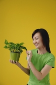 Young Woman looking at plant, yellow background - Asia Images Group