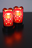 Pair of illuminated Chinese Lamps with the text - Double Happiness - Asia Images Group