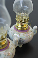 Pair of traditional Chinese oil Lamps with the text - Double Happiness - Asia Images Group