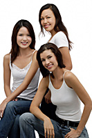 Three Young women looking at camera, portrait - Asia Images Group