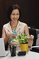 A woman tends to a pot plant on her desk - Asia Images Group