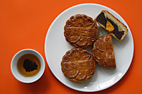 Still life of mooncakes with single yolk - Asia Images Group