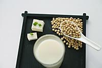 Still life of soya milk and soya beans - Asia Images Group