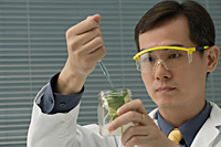 Scientist examining jar with plant samples - Asia Images Group