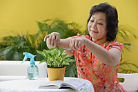 Mature woman pruning plant - Asia Images Group