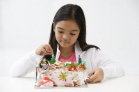 Girl looking at Christmas log cake - Asia Images Group