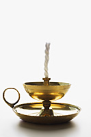 Indian oil lamp with wick - Asia Images Group