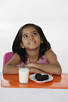 Girl with milk and cookies - Asia Images Group