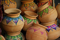 Hand painted Indian clay pots. - Asia Images Group