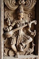 Wood carving of Indian God, Shiva - Asia Images Group
