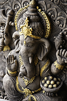 Indian God, Ganesh with gold details. - Asia Images Group
