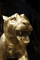 Closeup of bronze tiger head in Little India, Singapore - Asia Images Group