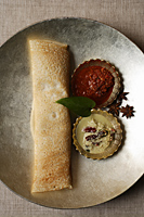 dosai with two curries, indian food - Asia Images Group