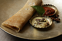 dosai with two curries on silver plate - Asia Images Group