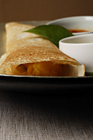 close up of masala dosai, indian food - Asia Images Group