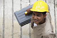 Top view of man wearing construction hat - Asia Images Group