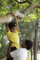 Father helping his son climb a tree - Asia Images Group